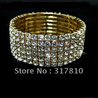 Six Row Gold Elastic Rhinestone Crystal Bridal Bracelet