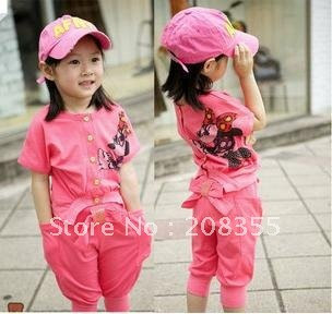Han edition girls wear cotton sundress both the positive and negative, sport suit children summer children's clothes(China (Mainland))