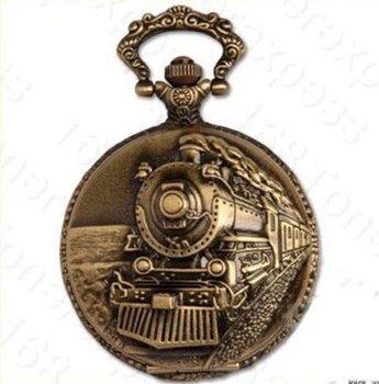 6pcs/lot Classical Railroad Steam Train Pocket Watch Necklace Chain,  Dia: 4.5cm S047