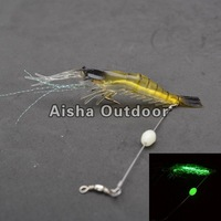 10Pcs/lot [10cm 6g] Luminous Shrimp Soft Fishing Lures With Fishing Hooks and Swivels Fast shipping(FS-35)