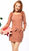 $5 off per $50 Lotus leaf shoulder stripes thickening winter dress 81720