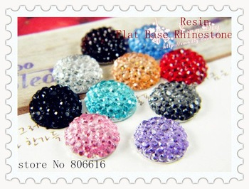 Promotion~~ 10MM (200Pcs+200Pcs) Random Mixed 10 Colors Round Shape Resin Rhinestones Flat Base Beads Jewelry Findings