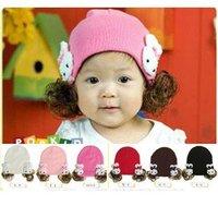 Korean style Childen Hat with rabbit Wig hat knitted baby Hat headgear