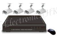 Freeshipping,4CH DVR Kit: 4CH DVR + 4 Cameras + 4*20M Cables+ Power, 4CH D1 DVR SYSTEM