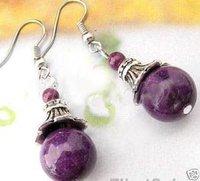Jewellery Tibet Silver purple jade Earring 10pcs