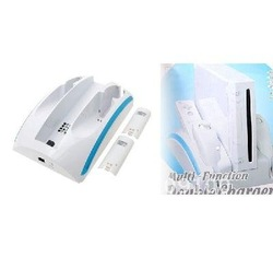 Free shipping /High Quality/Double Charger Station Stand 1200mAh for Nintendo Wii(China (Mainland))