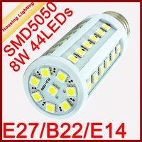 E27 B22 E14 8W LED Corn Light Bulb, AC85-240V, 44 SMD5050, Replacement of 30W Fluorescent Lamp [Housing Lighting]