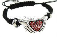 Fashion Shamballa Bracelet, wax cord with blue cats eye beads & rhinestone zinc alloy beads, Sold per 7.5 Inch- Strand