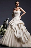 Free Shipping Hot-sale  Embroidery Ruffle  Strapless Satin  Wedding Dress