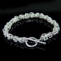 Wholesale Promotions 925 silver Shiny link Bracelet.925 silver bracelet.fashion bracelet.silver jewelry.. F00030 jewelries