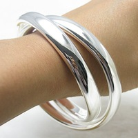 Wholesale silver TWO-Circles bangle,925 sterling silver jewelry bangle.925 bangle.silver bangle.. F00021 jewelries