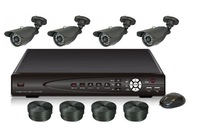 Freeshipping,4CH DVR Kit: 4CH DVR + 4 Waterproof Cameras + 4*60FT Cables+ Power, 4CH D1 DVR SYSTEM(500GB SATA HDD OPTION)