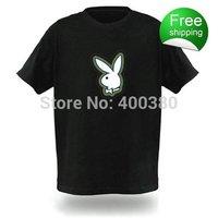 Free shipping EL T-shirts,t shirt,equalizer t-shirt,el tshirt sound active,el music flashing tshirt ,led tshirt 77138