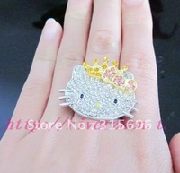 Large hello kitty crystal bow crown ring b2+EMS free shipping