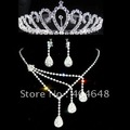 Bride headdress necklace set of three / Bridal Gown / Rhinestone Tiara + Necklace + Earrings / 007
