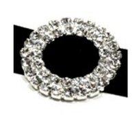 Double Row Round Ribbon Rhinestone Slider,  Wedding Embellishment, Rhinestone Buckles-----BU102