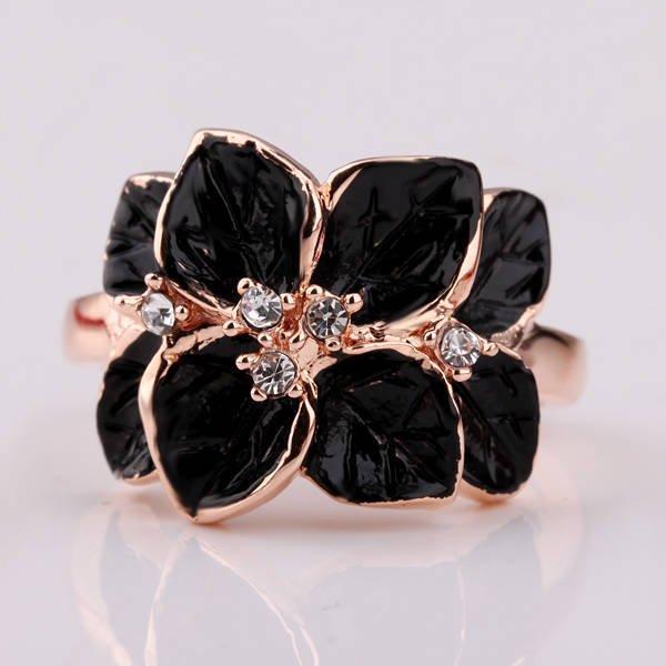 Black Flower Rhinestones18K gold plated Rings Factory Prices Nickel Free Items Women Jewelry RGPR123(China (Mainland))