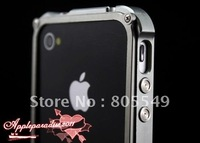 New Luxury Silver Gray Blade Real Metal Aluminum Bumper Case For Iphone 4 4G 4S