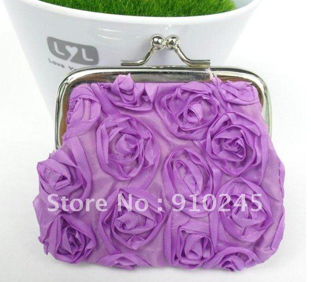 The pure color stereo rose flowers clasp zero purse, wedding small gift, wholesale can pick color(China (Mainland))