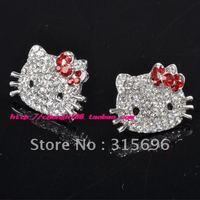 Cute Hello Kitty red bow earring earrings earbob #K17+free shipping