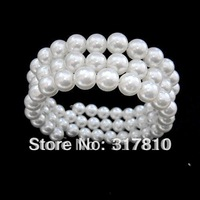 3 Rows White Faux Pearl Memory Wire Stretch Pearl Bracelet
