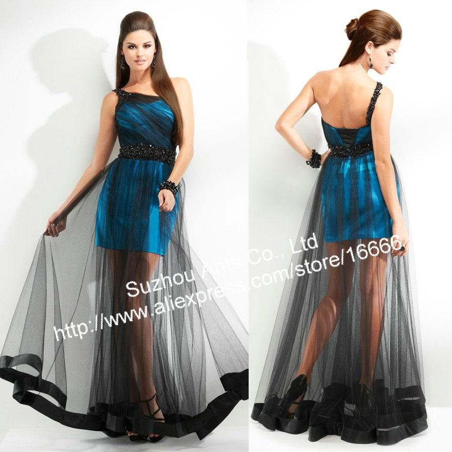 2012 Party Dress Blue taffeta Black Tulle Stylish Inner short out long
