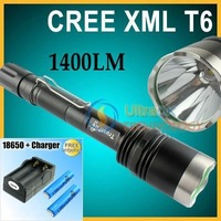 1400 Lumen CREE XML T6 X8 LED Flashlight Torch Power + 2x18650 Battery&Charger   FREE Shipping