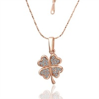 Min order $10 (mix order),Romantic 18K rose Gold Plate Four Leaf Clover Necklace,Fashion Jewelry With High Quality RGPN001