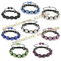 Wholesale 10mm AB Clay Crystal Ball(4pcs) Shamballa Bracelets With Evil Eye Mix Option Free Shipping SMABmix1