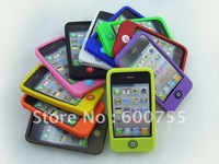1000pcs/lot Home Button Flat Silicone Rubber Cases Back Cover for iphone 4G 4S