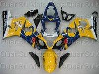 Free shipping SUZUKI 04-05 GSXR600 04-05 Bodywork Fairing K4  228  yellow black shallow blue