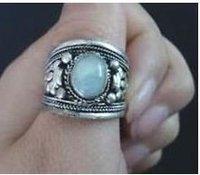Attractive Tibet silver opal men's ring size adjustable