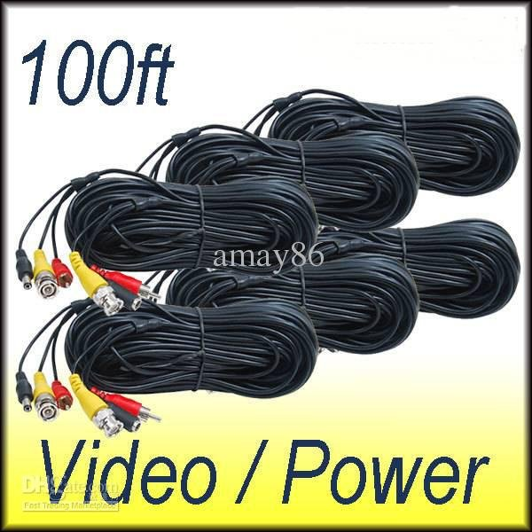 6PCS 30m (100ft) Video Audio Power Cable CCD DVR CCTV Security Camera BNC RCA Wire(China (Mainland))