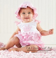 2014 New Arrival Baby Clothing Set ( Baby Hat + Baby Dress )  Ready For Ship infant Two-piece (20pcs/lot)