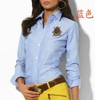 Free shipping/ hot sale/new pure cotton/women&#39;s long sleeve brand shirt/ladies&#39; blouse/overshirt wholesale and retail-blue
