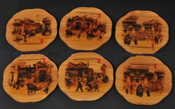 Bamboo Coasters Wedding Favor Cheap Beer Coaster eco friendly Painted Round 6 Set Of Coasters with boxes 10 Sets/pack(China (Mainland))