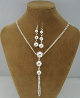EVYSTZ (85) Unique Jewelry Fashion silver lady balls necklace earring sets silver jewelry sets wholesale free shipping
