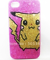 Free Shipping 2012 New Arrival Yellow Pikachu Mobile Phone Case Cover With Hight Quality Rhinestone