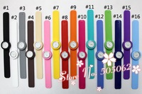 60 pcs Free shipping Newest fashion silicone watch jelly slap watch Clap watch 12 numbers with logo quartz w03