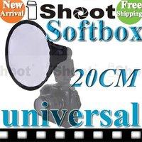 20cm iShoot Round Mini Flash Softbox/Diffuser for Canon Speedlite Nikon Speedlight Pentax Flashgun
