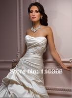 Alabaster Satin Strapless Scoop Neckline Sleeveless Bridal Wedding Gowns,Wedding Bridal Gowns-Talese