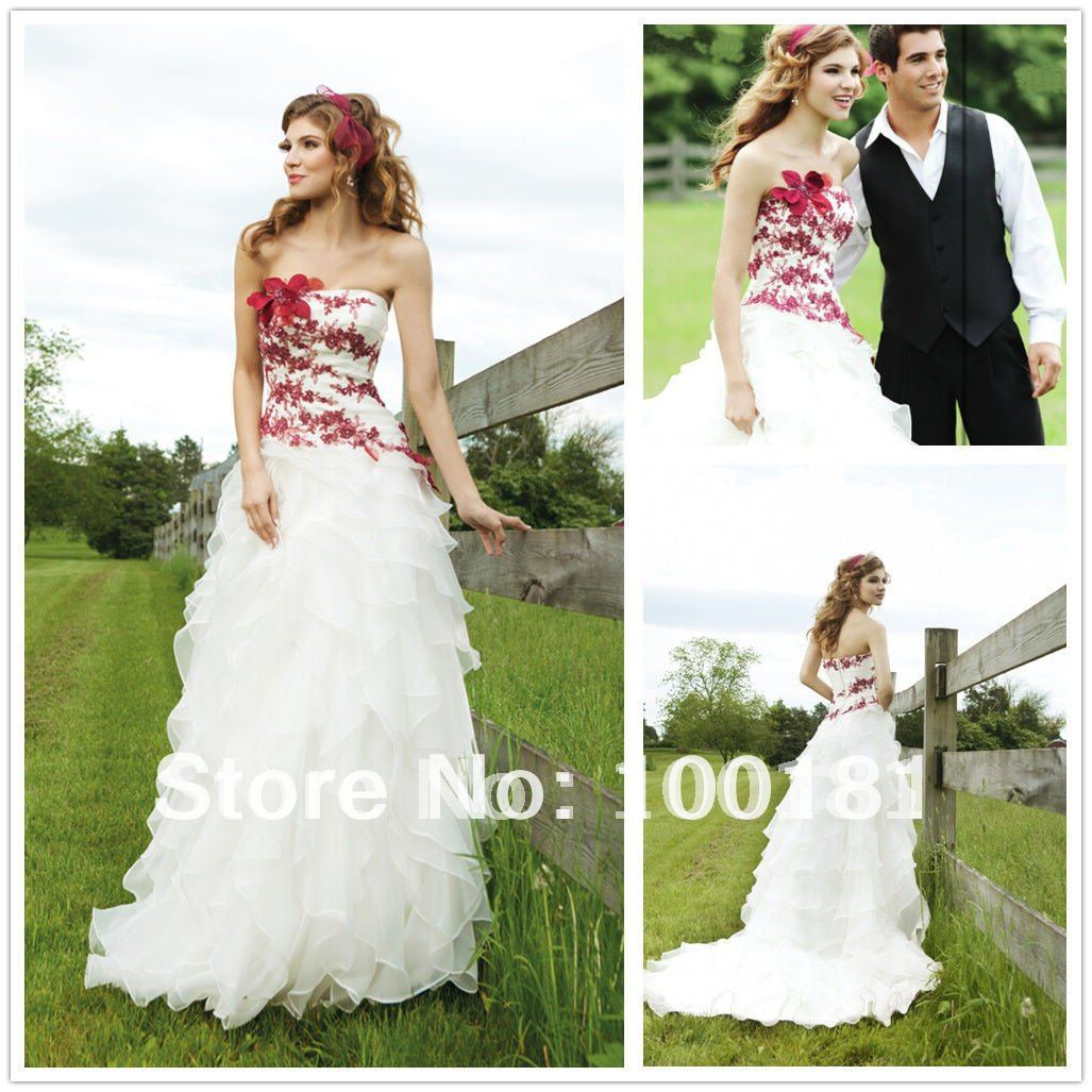 Latest Red and White wedding Dresses Layered Organza Bridal Gown All