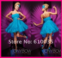 Custom Made 2012 New StyleModern  Blue Party Dresses Sweetheart Sleeveless Ball Gown Ruched Chiffon Prom Dresses Dress By Tony