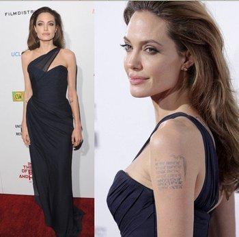 Fast Custom Made Angelina Jolie Film Premiere 2012 Sheath One Shoulder Floor Length Red Carpet Celebrity Dresses Occasion Gowns