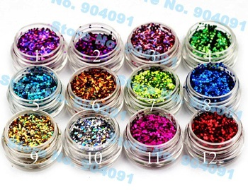 free shopping 1mm Super Dazzling ,5g per pot, 12 pots per set, 12color Glitter Acrylic Powder Dust For Nail Art Tips