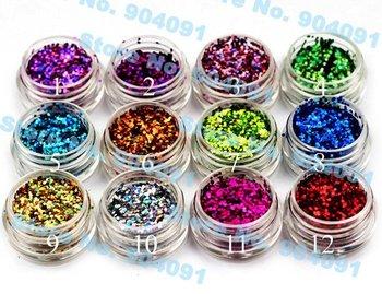 free shopping 1mm Super Dazzling ,5g per pot, 12 pots per set, 12color Glitter Acrylic Powder Dust For Nail Art Tips