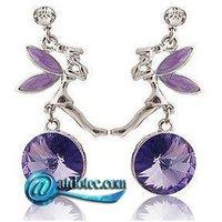 Fashion Jewelry Beautiful Fairy Design Crystal Stud Earrings Cute Vintage Rhinestone Earring Colored Purple & Blue ES0023