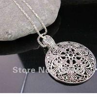 Bohemian Flower Pendant costume Long Tibetan Silver vintage Necklace Jewelry Jewellery bijouterie chain for Women Girl's