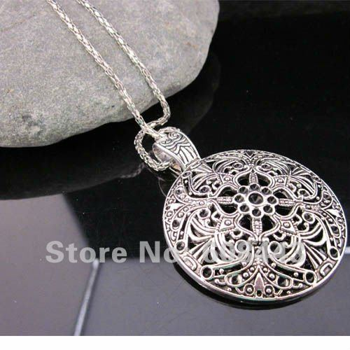 Bohemian Flower Pendant costume Long Tibetan Silver vintage Necklace Jewelry Jewellery bijouterie chain for Women Girl's(China (Mainland))