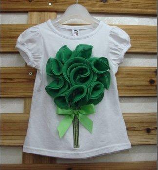 free shipping b2w2  baby t shirt  baby girls short sleeve tee green flower   YHW-5